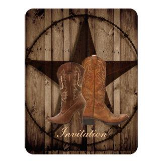 """Boda occidental de las botas de vaquero del país invitación 4.25"""" x 5.5"""""""