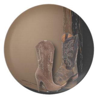 Boda occidental de las botas de vaquero del país platos de comidas