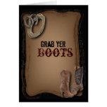 Boda occidental de las botas de vaquero del país tarjeta