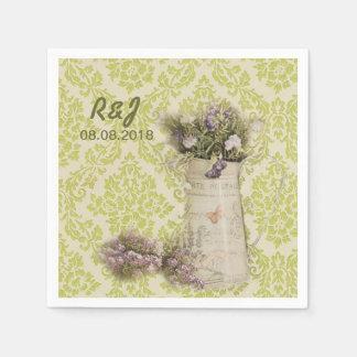 boda occidental del granero del tarro de albañil d servilleta de papel