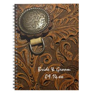 Boda occidental del país de la silla de montar de spiral notebook
