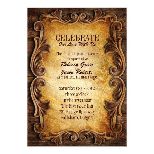 Boda occidental elegante sofisticado del vintage invitación 12,7 x 17,8 cm