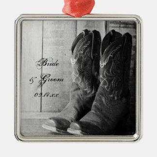 Boda occidental rústico de las botas de vaquero adorno navideño cuadrado de metal