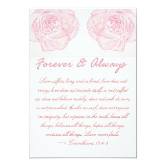 Boda para siempre y siempre color de rosa de la invitación 12,7 x 17,8 cm