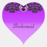 Boda pendiente del corazón adornado púrpura y negr pegatinas corazon