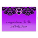 Boda pendiente del corazón adornado púrpura y negr tarjeta