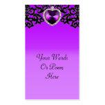 Boda pendiente del corazón adornado púrpura y negr tarjeta de visita