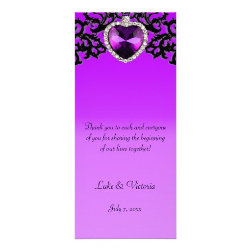 Boda pendiente del corazón adornado púrpura y negr plantilla de lona