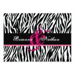 Boda personalizado cebra rosada blanca negra invitación 12,7 x 17,8 cm