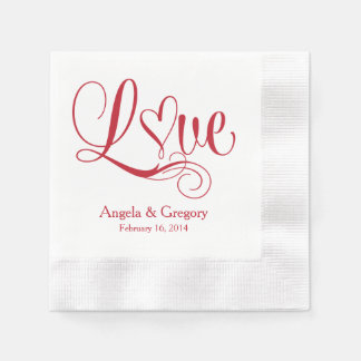 Boda personalizado corazón blanco rojo del amor servilleta de papel