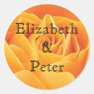 Boda personalizado del rosa amarillo de Tejas Pegatina