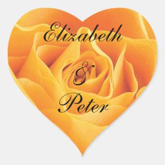 Boda personalizado del rosa amarillo de Tejas Pegatinas Corazon Personalizadas