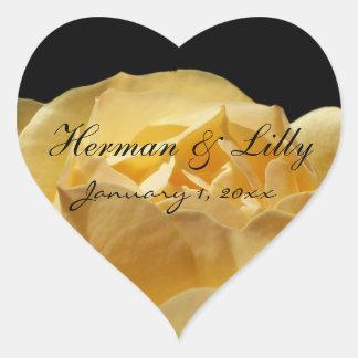 Boda personalizado del rosa amarillo calcomanías corazones