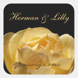 Boda personalizado del rosa amarillo pegatinas