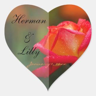 Boda personalizado del rosa rojo y amarillo pegatina corazon personalizadas