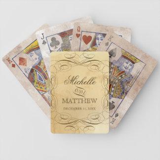 Boda personalizado - el té manchado remolina barajas de cartas