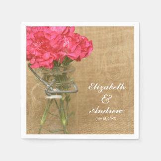 Boda personalizado flor del rosa del tarro de servilletas desechables
