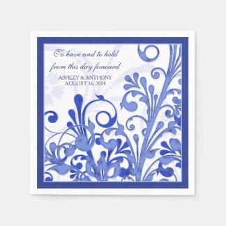 Boda personalizado floral blanco del azul real servilletas desechables