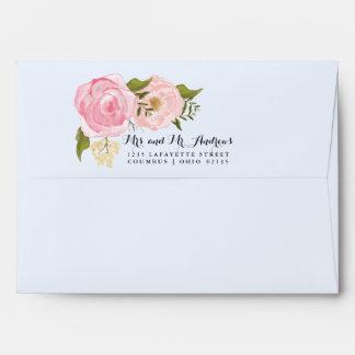 Boda personalizado floral del rosa moderno del sobre