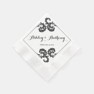Boda personalizado floral del vintage adornado servilletas desechables