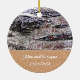 Boda personalizado foto de la corteza de árbol ornamentos de navidad
