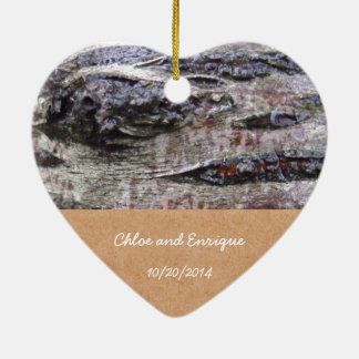Boda personalizado foto de la corteza de árbol ornamento para reyes magos