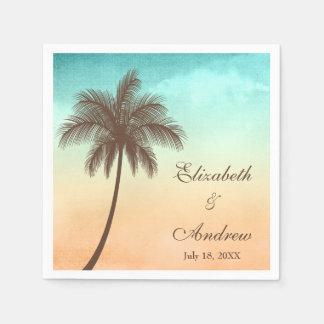 Boda personalizado palmera tropical de la playa servilletas de papel
