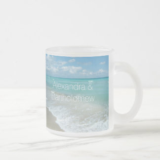 Boda personalizado playa/recuerdo del océano de la taza de café esmerilada