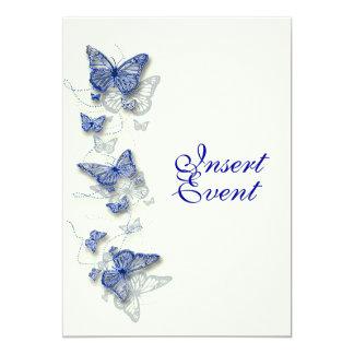 Boda poner crema azul del compromiso del invitación 12,7 x 17,8 cm