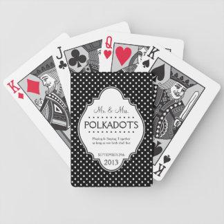 Boda punteado polca del aniversario personalizado cartas de juego