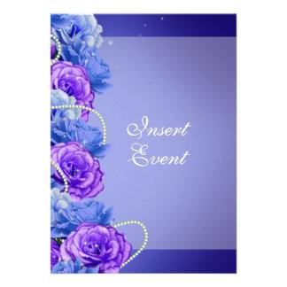 Boda púrpura azul del compromiso del cumpleaños invitación personalizada