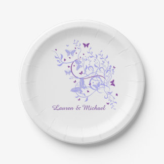 Boda púrpura azul del remolino de la mariposa platos de papel