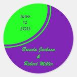 boda púrpura brillante del círculo de la MOD del v Etiqueta Redonda