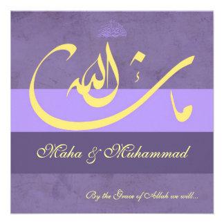 Boda púrpura compromiso del mashaAllah islámico Anuncio Personalizado