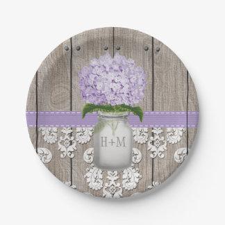 Boda púrpura con monograma del Hydrangea del tarro Plato De Papel De 7 Pulgadas