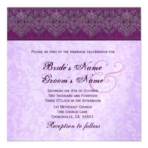 Boda púrpura de la cinta del damasco de la berenje comunicados personales