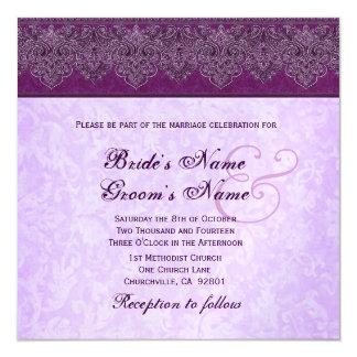 """Boda púrpura de la cinta del damasco de la invitación 5.25"""" x 5.25"""""""