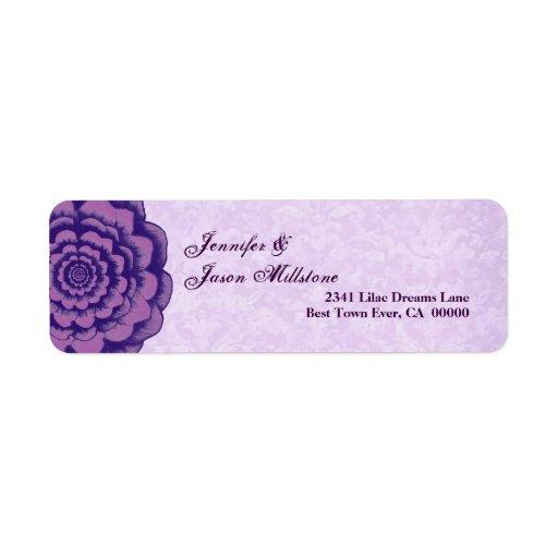 Boda púrpura de la flor y del damasco etiqueta de remite