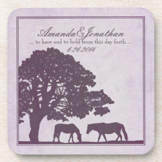 Boda púrpura de la granja del caballo del vintage posavasos de bebida