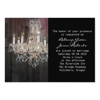 boda púrpura de la lámpara del barnwood del invitación 12,7 x 17,8 cm