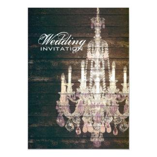 """boda púrpura de la lámpara del barnwood del invitación 5"""" x 7"""""""