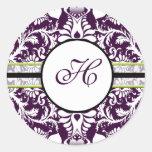 Boda púrpura de la letra H del pegatina de la