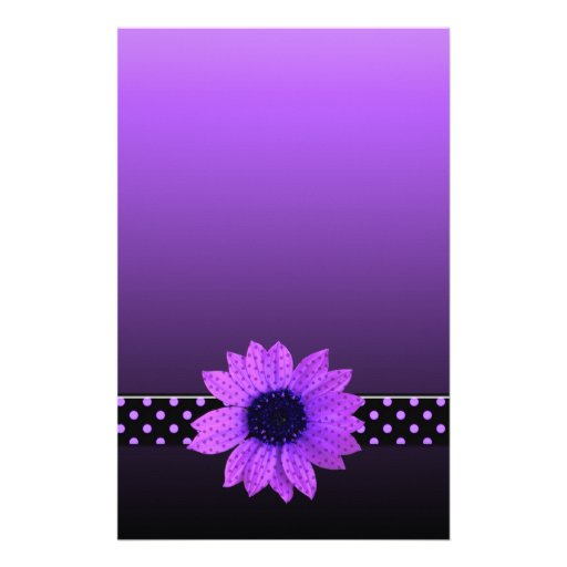 Boda púrpura de la margarita del lunar personalized stationery