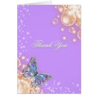Boda púrpura de la mariposa tarjeta de felicitación