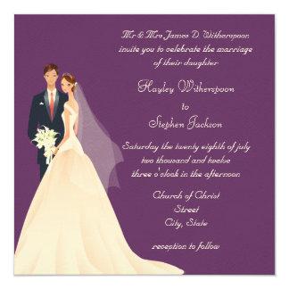 Boda púrpura de la novia y del novio, de la comunicado