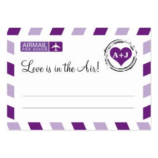 Boda púrpura de la tarjeta del asiento del correo tarjetas de visita grandes