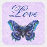 Boda púrpura del amor de la mariposa del vintage calcomanías cuadradas personalizadas