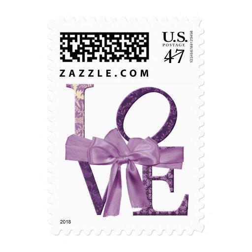 Boda púrpura del amor de la tela y de la cinta del sellos