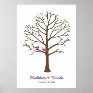 Boda púrpura del árbol de la huella dactilar de lo poster