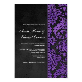 Boda púrpura del cordón del damasco del vintage comunicado personal